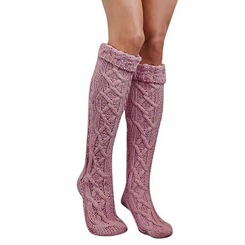 VJGOAL Mujer Otoño e Invierno moda casual Cálido Transpirable sexy Calcetines altos Muslo Alto sobre la rodilla Calcetines Calcetines largos de fibra de bambú(Un tamaño,Rosa)
