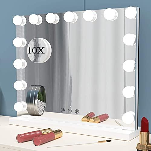 ANGNYA Espejo de Maquillaje Iluminado Hollywood, Espejo de Mesa con Luz LED, Profesional Espejo Cosmético de Tocador con Modos de 3 Colores, 15 Bombillas LED Regulables y Control táctil Inteligente