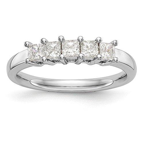Anillo de boda de oro blanco de 14 quilates con 5 piedras de diamante, 1,5 quilates, joyería fina, regalo ideal para mujeres