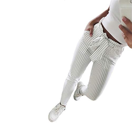 JewelryWe Damen Hosen Streifen Gestreift Gerade Beinhosen Leg Lässige Hose Freizeithose mit Gürtel, Weiß, S