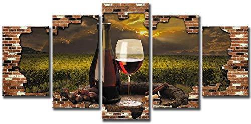 MSKJFD 5 Piezas Material Tejido No Tejido Impresión Artística Imagen Gráfica Decor Pared Mural Moderno Decor Hogareña Regalo Navidad Fotomural Copa De Vino