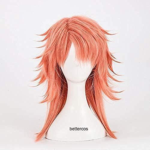 Demon Slayer Kimetsu no Yaiba Sabito Cosplay pelucas rosa naranja resistente al calor peluca de pelo sinttico + gorro de peluca