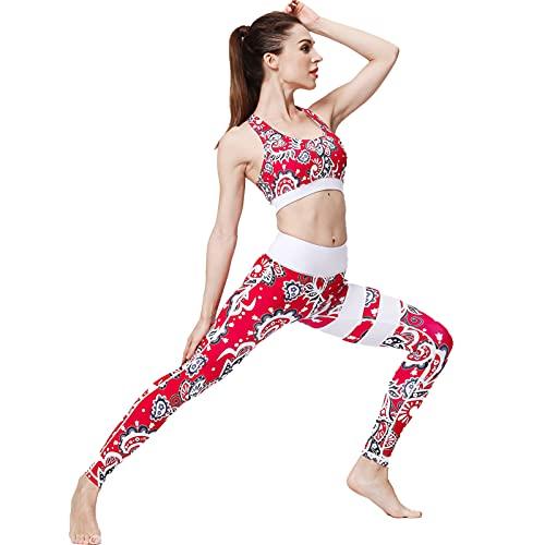 SCHUANG Conjuntos de yoga para entrenamiento, chándal deportivo de cintura alta para mujer (sujetador + legging), traje XL
