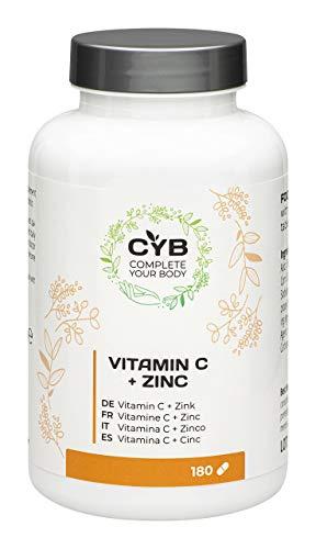 CYB Vitamine C + Zinc – Contiennent 225 mg de vitamine C et 2.25 mg de zinc – Végétalien – 1 x 180 comprimés