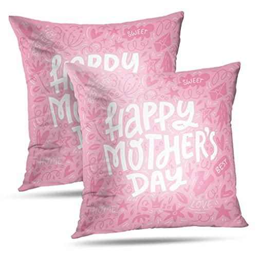 NA Juego de 2 Fundas de Almohada para el día de la Madre, Tarjeta de felicitación única con símbolos, Cepillo, Celebrate Flyer, Fundas de Almohada, cojín, Uso para Sala de Estar, Cama, sofá