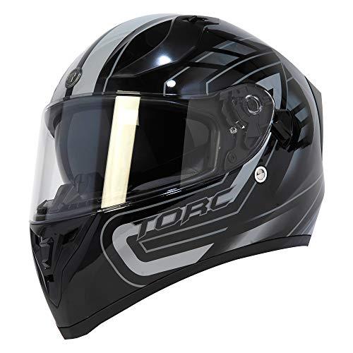TORC Unisex-Adult T15B Full Face Bluetooth Integrated Motorcycle Helmet with Graphic (Gloss Black Horizon Grey, Medium)