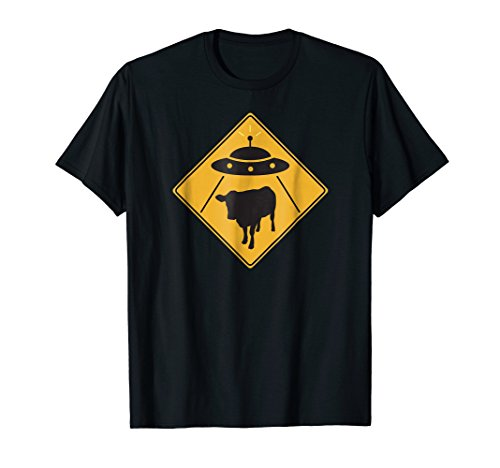 UFO Cow Abduction T-Shirt Alien Cow Sign Tshirt Rosewell Tee
