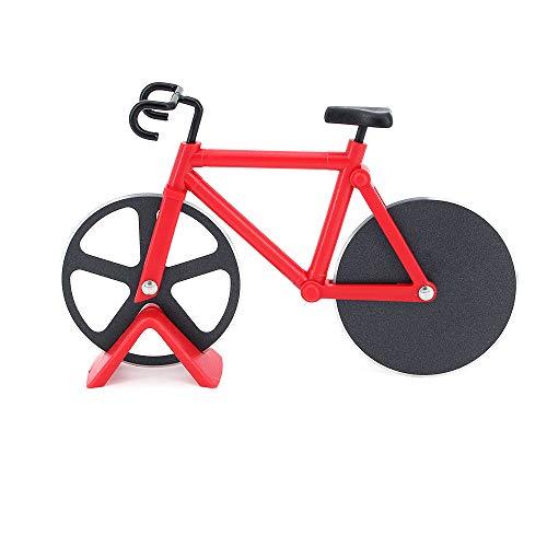 ShawFly Fahrrad Pizza Cutter Edelstahl Roller Pizza Cutter, mit scharfer Klinge, kreative Küchenwerkzeuge (rot)