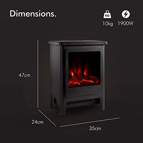 VonHaus 1900W Stove Heater – Electric Fireplace/Stove Heater with LED Flame Effect – Freestanding & Portable Design with Overheat Protection – Black Metal with Glass Door