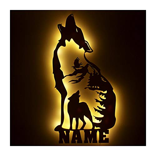 Wölfe Deko Figur für Wolf Fans personalisiert mit Namen Geschenke Idee Geburtstag Wohnung Umzug I optional mit Farbe I LED