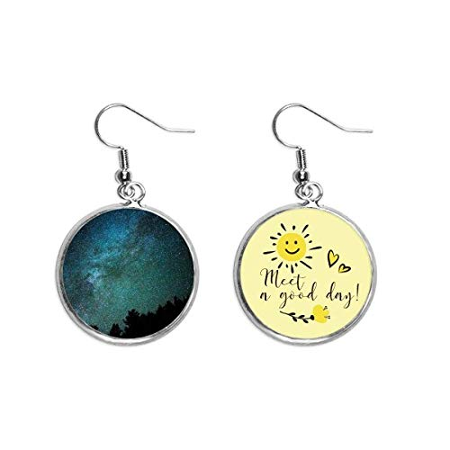 Galaxy Dark Stars Clouds Art Deco Gift Fashion Ear Drop Sun Flower Earring Jewelry Fashion