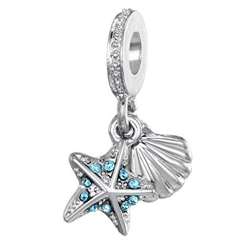 shangwang Beads Alloy Glass Turtle Starfish Seahorse Beading Suitable For Original Pandora Bracelet Diy Marine Series Jewelry AP489-18