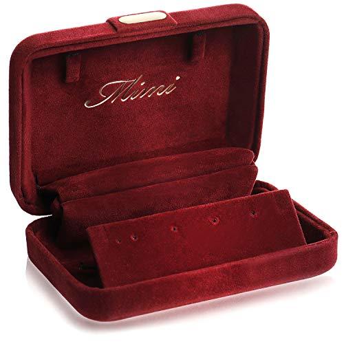 ジュエリーケース アクセサリーケース 携帯用 収納 リング ピアス 指輪 コンパクト 持ち運び(ワインレッド)