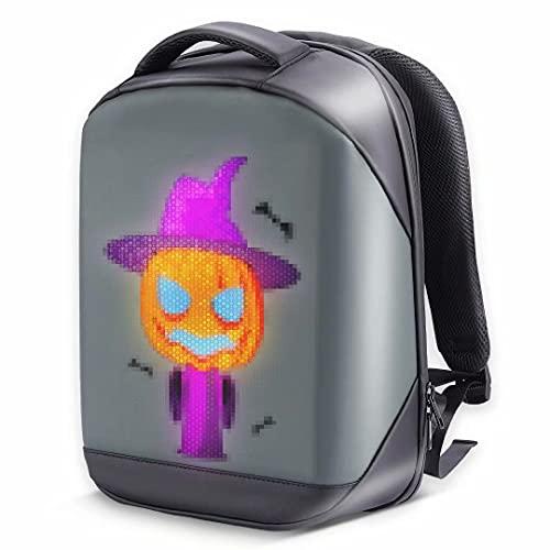 Merpin Zaino LED, Zaino Moda Impermeabile Multifunzione Luminoso WiFi, Zaino per Laptop da Viaggio con Schermo a Colori(nero)