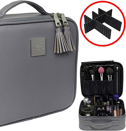 Professional Travel Makeup Bag - Waterproof PU Leather Organizer and Beauty Storage - Elegant Make Up Case, Organizers or Box Best For Women - Designer Portable Cosmetics Bags and Boxes - Womens