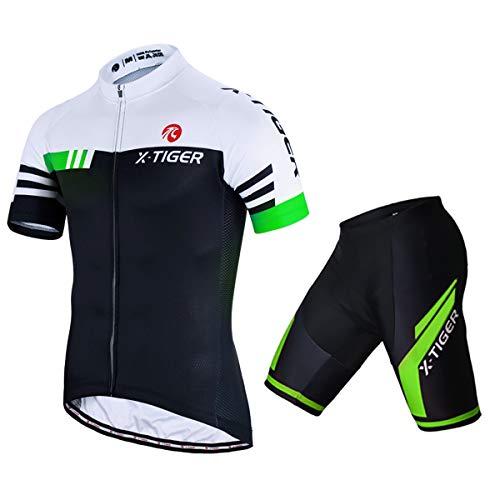 X-TIGER Herren Fahrradtrikot, kurzärmliges Set mit 5D-Gel-gepolsterten Shorts, Fahrradbekleidung Set für Mountainbikes, (Grün, L)
