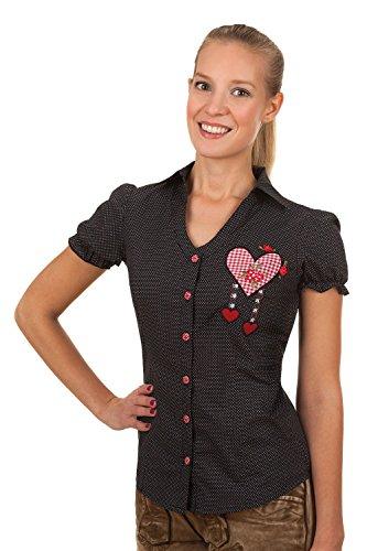 Trachten Bluse gepunktet mit Herz Applikation und Röschen (38)