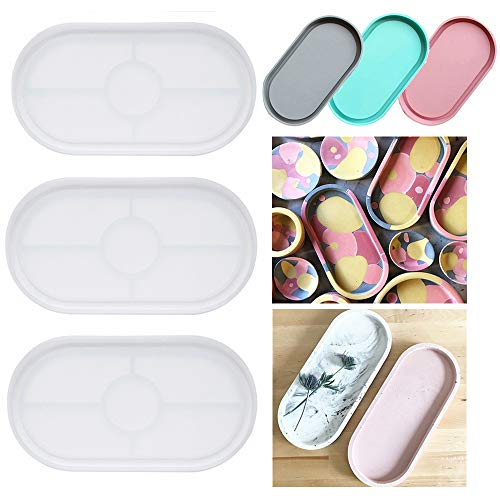 3 Pack Ashtray Molds, Oval Coaster Epoxy Resin Casting Mould DIY Jewelry Tray Dishes for Craft Jewelry Storage Decoration