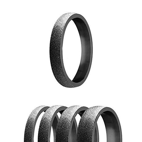 Ring - Edelstahl - 4 Breiten - Diamant - Schwarz [43.] - Breite: 5mm - Ringgröße: 55