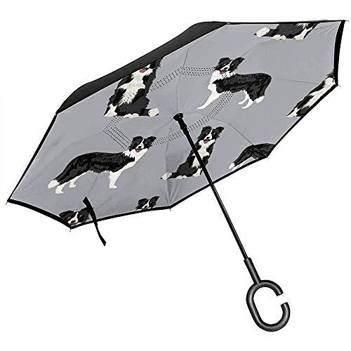 Mike-Shop Border-Collie-Hunderasse-Stoff-Haustier-Liebhaber, die Projekte nähen Grey_36691 Cars Reverse Umbrella