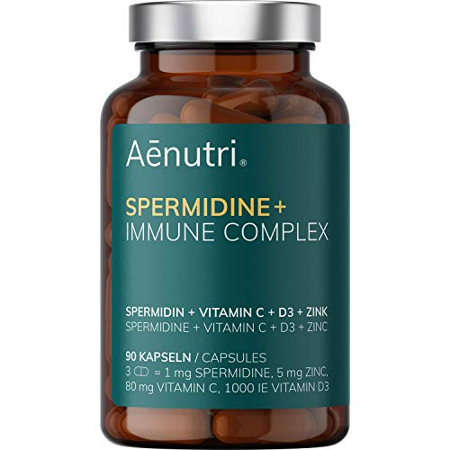 NEU: SPERMIDIN Plus Immun Komplex Kapseln | Hochdosiert | Weizenkeim-Komplex mit Zink, Vitamin C + D3 | Hohe Bioverfügbarkeit | Laborgeprüfte Qualität aus DE | 90 Kapseln