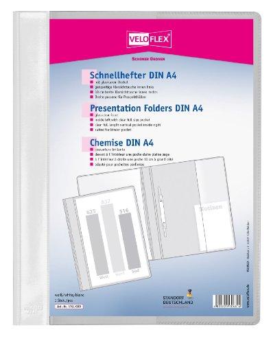 Veloflex 4741090 Schnellhefter Veloform DIN A4, PVC, glasklarer Vorderdeckel, passend für Prospekthüllen, weiß