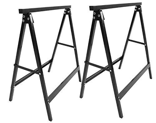 Cocoarm 2 x Gerüstbock Klappbock Stahlbock Set Falt-Arbeitsbock Klappbares Unterstellbock Paar aus Metall bis 100 kg Tragkraft