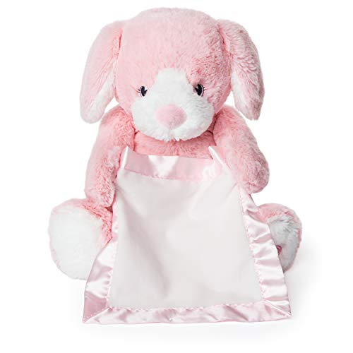 INTERACTIVE PUPPY PLUSH: Playful Peek-A-Boo Puppy features safe, soft embroidered eyes and movable arms holding a matching, pink satin-accented blanket that provides additional tactile play sensation.