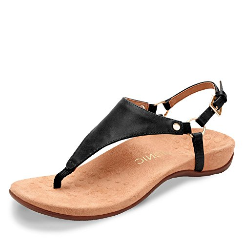 Vionic Kirra Womens Toe Post Sandals 38 EU Schwarz