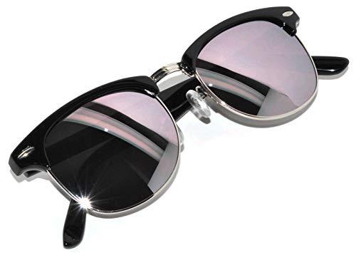Half Frame Sunglasses Black Silver Metal Frame...