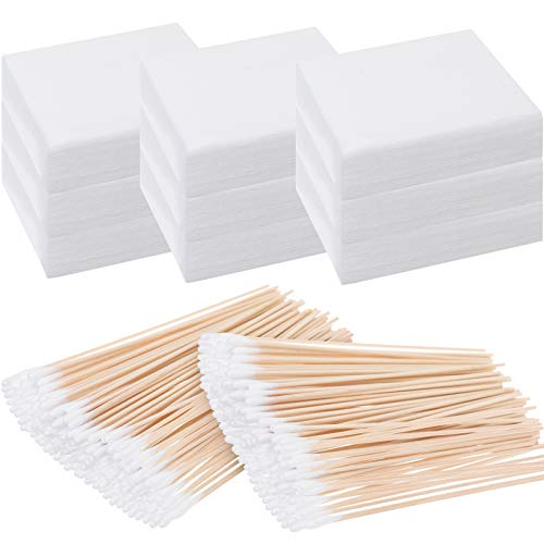 Nuanchu 500 Pieces Cleaning Patches and 200 Pieces 6 Inch Cleaning Swabs, 2.75 x 2.36 Inch Flannel Cleaning Patches, Flannel Patches