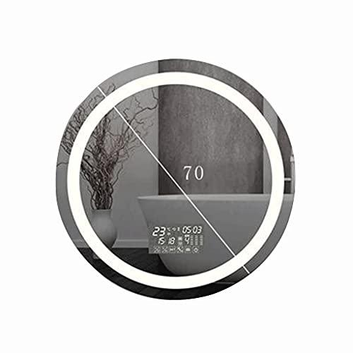 Espejo de baño redondo de 70 cm, botón multifunción monocromo LED + tiempo de desempañamiento/temperatura/calendario+altavoz Bluetooth espejo de pared con luz