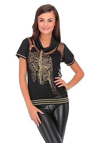 FUTURO FASHION Exclusieve collectie Womens coltrui T-shirt met gouden tijger dier print zien door blouse met top FC2057