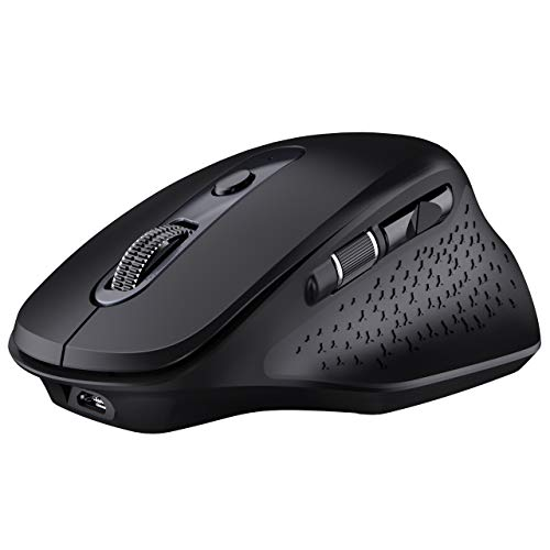 VicTsing Pioneer Rechargeable Bluetooth Mouse, Easy-Switch Up to 3 Devices, Wireless Computer Mouse with Side Scroll Wheel, 5 Levels Adjustable DPI Mouse for Laptop iPad Computer Windows/Mac/Android