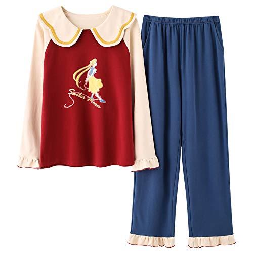 DFDLNL Pijamas de Manga Larga para Mujer Otoño Invierno Algodón Cuello de Mariposa Ropa de hogar Suelta para niña Camisón XL