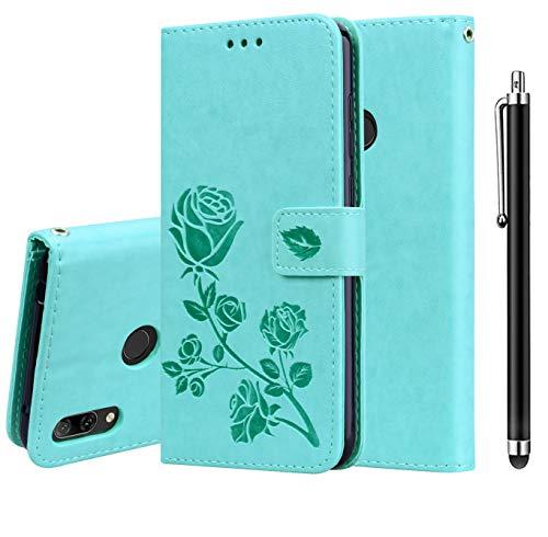 XIFAN Funda para Xiaomi Redmi Note 7, [Patrones de Relieve 3D] Cierre Magnético Snap Flip Proteccion Caso Carcasa Libro de Cuero con Ranuras para Tarjetas y Soporte, Verde + 1 Stylus