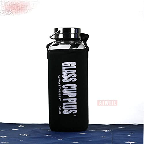 Botella de agua de vidrio 2000ml / 1500ml / 1000ml / 600ml exterior Transparente portátil botellas de vidrio de gran capacidad regalo con bolsa-ESPAÑA, 900-1000ML, Negro