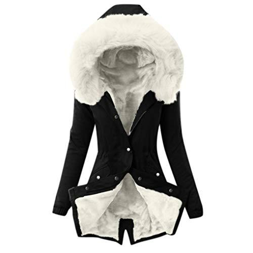 Qmber Kunstpelz Fishtail Long Sleeves Overcoat Daunenjacke Damen Mantel Steppjacke Parka Winter Jacke Mit Kapuze Outwear Fellkapuze Coat Hooded Warme Steppmantel(9,XX-Large)