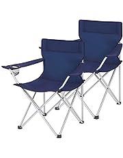 SONGMICS Campingstoelen, set van 2, klapstoelen, outdoor stoelen met armleuningen en drinkhouder, stevig frame, belastbaar tot 120 kg