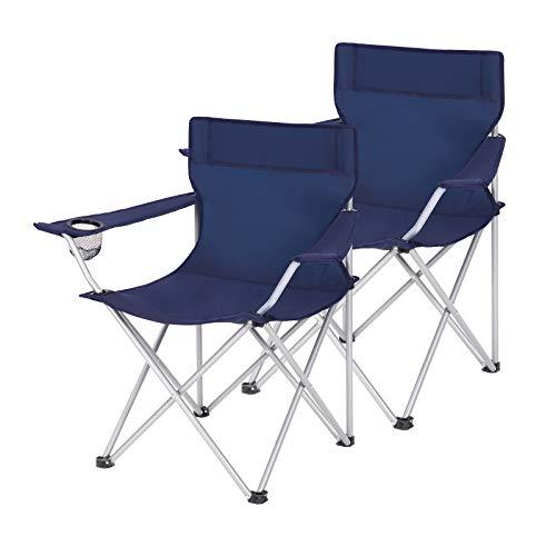 SONGMICS Campingstühle, 2er Set, Klappstühle, Outdoor-Stühle mit Armlehnen und Getränkehalter, stabiles Gestell, bis 120 kg belastbar, dunkelblau GCB01IN