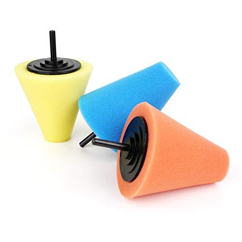 Lenmumu Drill Buffing Sponge Pads 3 Pack, 1/4/6mm Polishing Cone, 3 Kinds of Hardness Foam Polisher Buffer Pad Sponge Ball for Automotive Car Wheels Hub Care