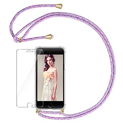 AROYI Cadena para teléfono móvil y protector de pantalla de cristal blindado compatible con iPhone SE 2020 con iPhone 7 con funda con cordón para el cuello, transparente y multicolor