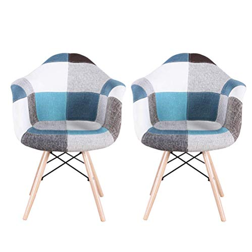 NC56 2er Set Mehrfarbig Patchwork Sessel mit Rückenlehne Weichkissen Retro Barstuhl Wohnzimmer Küchen Stuhl Esszimmer Sitz Holz Leinen (Blau)