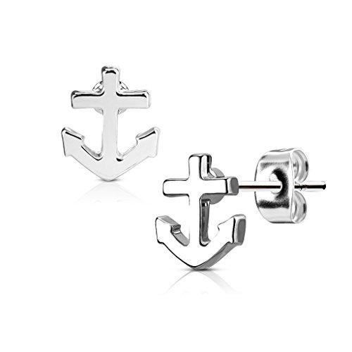 KULTPIERCING - Ohrringe Anker 1 Paar Ohrstecker 316 L Chirurgenstahl/Edelstahl Damen Schmuck Ohr-Schmuck Studs - Silber