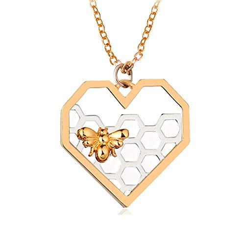 Bi-halsband, hexagon vaxkaka hjärta hänge halsband, droppande honungshjärta bi halsband, härligt honungsbi hänge halsband, bi gåvor för biälskare e legering, colore: Hjärta, cod. 020
