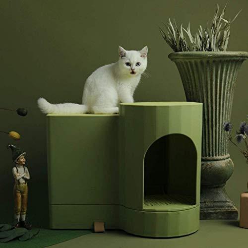 Alysays Litera de Gato Creativo Grande Lateral, Tipos de cajón Totalmente Cerrados, Inodoro, Anti-Salpicaduras de Gato de Chorro de Gato Forma de Grano de Madera para Gato Pan (Verde) litera