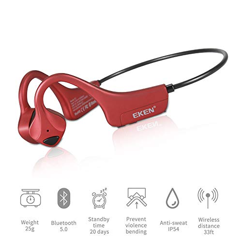 Bone Conduction Headphones, Bluetooth 5.0 with Mic Open-Ear Wireless Stereo Music Lightweight 25g Sweat-Resistant Answer Phone Call Hiking, Driving, Bicycling - Red