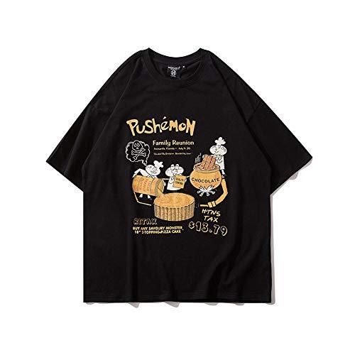 DREAMING-Una Sudadera De Manga Corta De Verano De Camisas con Camiseta De Algodón De Cuello Redondo Estampada Suelta para Hombres Y Mujeres Camisas De Parejas Black Large