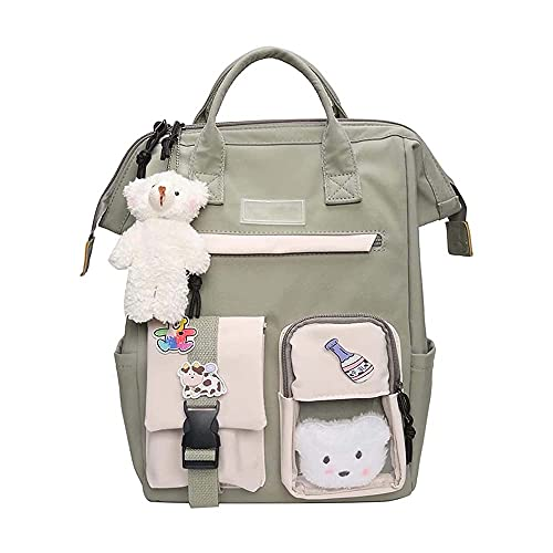 Kawaii Backpack with Kawaii Pin and Accessories, Cute Backpack with Plush Toys, Kawaii Girls Backpack Cute for Teen Girls (I)