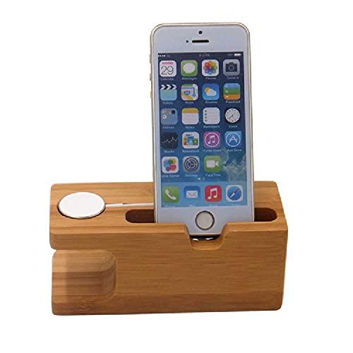N\C Soporte De Carga Iwatch para Soporte De Teléfono Apple Soporte De Madera De Bambú Soporte De Bambú Carbonizado Tipo